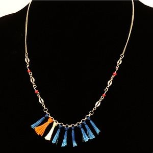 ANTHROPOLOGIE red & blue fringe silver necklace